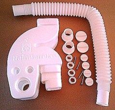Universal Downspout Rain Diverter kit from Rainbarrel.ca. Click image for details.