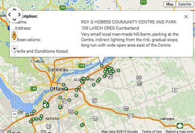 CLICK for a map of City of Ottawa sledding hills.