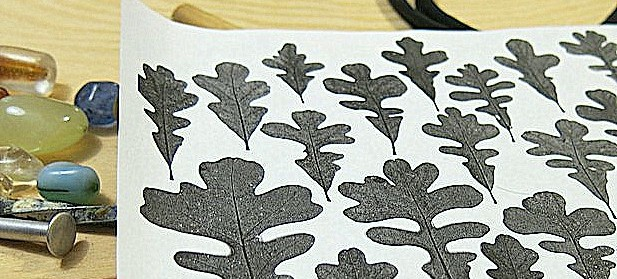 A page of oak leaves made at the local copy store.
