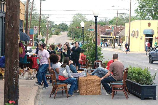 The first Build a Better Block in Oak Cliff, Dallas. Photo courtesy Team Better block. From the book Tactical Urbanism, Island Press 2015.